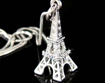 Swarovski Crystal 3D Eiffel Tower Paris France Honeymoon Pendant Rhodium Plated Necklace Christmas Best Friend Gift New