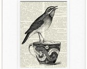 song bird and tea cup II print