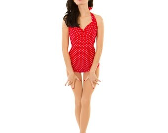 SALE Womens Bella Red and White Polka dot one piece retro pinup Maillot Swimsuit