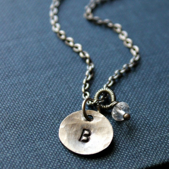 Personalized Recycled Sterling Silver Initial and Birthstone Necklace