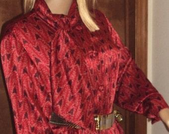 Weathervane Petites Shirt Vintage Teacher Blouse Secretary Top Pussy Bow Neck Tie 1990s