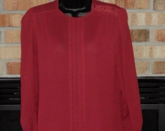 College Town Sheer Blouse Womens Secretary Red Top Funky Long Sleeve Shirt Vintage 1970s