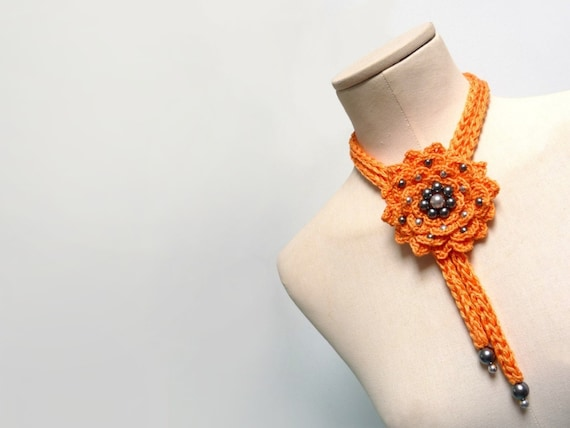 RESERVED - Crochet Cotton Flower Necklace / Lariat - Orange Yellow Flower with Grey Pearls - FULL BLOOM