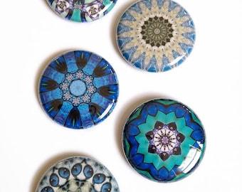 Blue Mandala Buttons - Colorful Mandala Pinback Button Set with Organza Bag