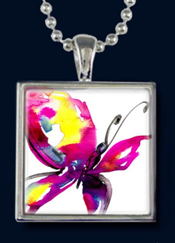 Butterfly Song... Beautiful  Necklace with Original Art by Kathy Morton Stanion EBSQ