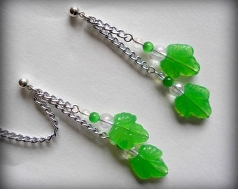Cartilage Chain Earrings - Elven Glass Leaves