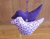 Primitive Pair Of Handmade Purple Folk Art  Bird Ornament bowl fillers