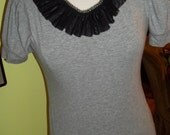 Glamourized Gray Tee with an ARTSY Handmade Ruffle Lace Neckline