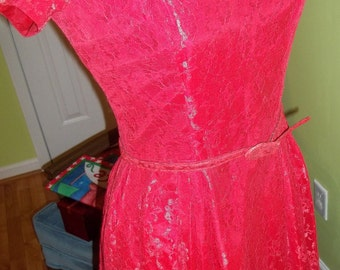 EXQUISITE 1950's Red Lace Dress Gown - Just In Time for the Valentine's Ball