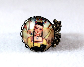 Day of the Dead Ring, Frida Kahlo Mexican Girl Art, Bronze Filigree Cocktail Ring Jewelry, Original Art Print, Yellow