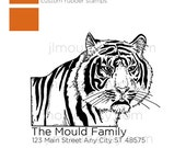 Custom Rubber Stamp Return Address Tiger Rubber Stamp Personalized Gift  Handle 0006