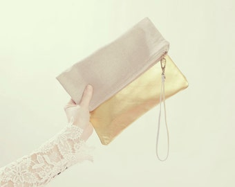 Gold Leather Clutch. Linen Clutch. Holiday Clutch Bag. Rustic Wedding Accessory. Oversized Clutch.