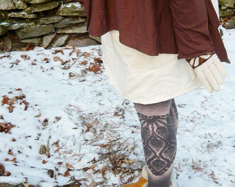 leggings with hand-stenciled doily print -- made to order