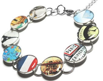 Paris France, Paris Bracelet, Paris is ALWAYS a Good Idea, Eiffel Tower, Louvre, French Flag, France, Gift for Her, Handmade Jewelry