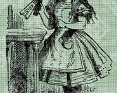 Digital Download Drink Me bottle, Alice in Wonderland digi stamp, digis, digital stamp, Lewis Carroll Antique Illustration