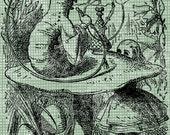 Digital Download Alice and Caterpillar, Alice in Wonderland digi stamp, digital stamp, Lewis Carroll Antique Illustration