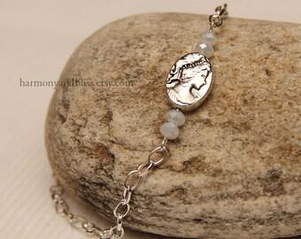 Cameo charm jewelry, wedding jewelry, cameo bracelet, cameo charm jewelry, teen girl gift, gift for her, elegant jewelry, simple bracelet