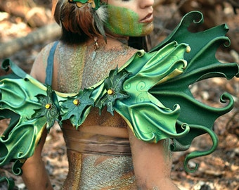 Wearable Leather Wings, Adult Costume, Fairywings, Green Maple Leaves, LARP Cosplay Halloween Masquerade, Made to Order