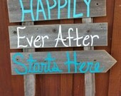 Beach Wedding Sign Happily Ever After Starts Here Arrow Romantic Beach Decorations Hand Painted Reclaimed Wood. Rustic Wedding Teal Blue