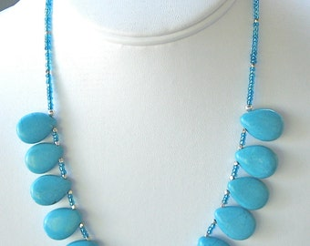 Turquoise & Thai Silver Necklace - Turquoise Briolette Necklace - Turquoise Teardrop Necklace - Sale Necklace - 113012