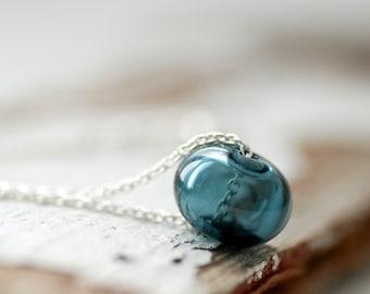 Dark Denim Blue Necklace, Weekend Jewelry, Slider Necklace, Glass Necklace, Minimalist Jewelry, Hollow Glass Necklace - September