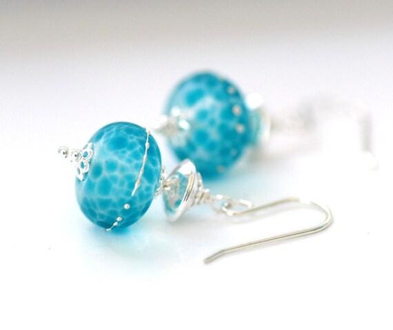 Turquoise Blue Earrings, Frosted Glass Earrings, Beach Wedding, Bridal Jewelry, Drop Earrings, Sterling Silver - Sea Siren