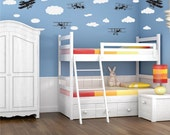 Wall Decal Stickers Airplanes and Clouds Vinyl Wall Decal Art for kids room
