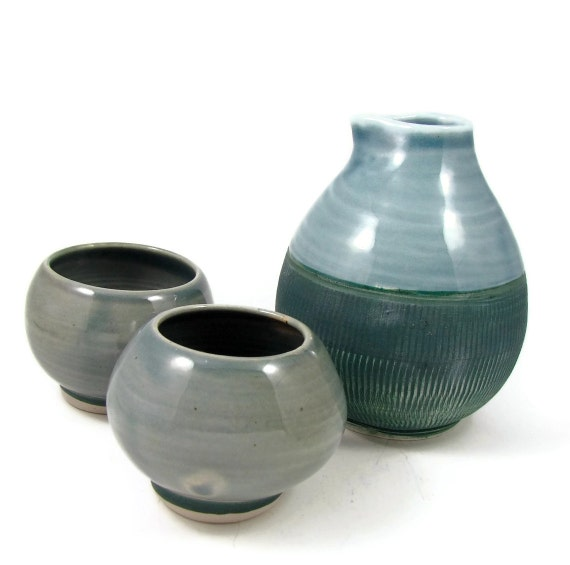 Porcelain Sake Set Ceramic Flask And Cups Japanese Sake