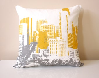 Chicago Throw Pillow - Grey and Mustard Decorative Pillow - Downtown Chicago Pillow - City Throw Pillow