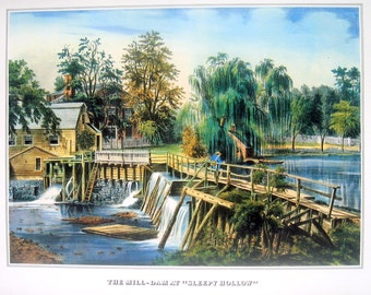 Currier and Ives Print - The Mill Dam at Sleepy Hollow - 1978 Large Vintage Book Page for framing