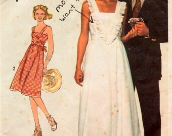 Vintage 1970s Sewing Pattern Simplicity 7869  Misses' SunDress  Size 14 Bust 36 Uncut Complete