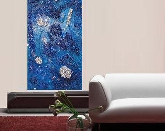 """Collage in blue... original painting, collage, 31.5 x 15.7"""", 80x40 cm, acrylics, wood, glass, aluminium, plastic, abstract, fantasy"""