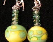 KGlass lampwork glass earrings yellow green Swarovski crystals sterling silver mirror image design