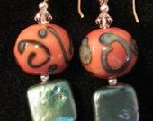 Lampwork Scrolls & Square Pearl   sterling silver Swarovski artisan earrings KGlass