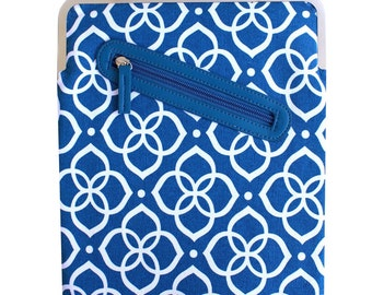 SALE - Cobalt Blue iPad Case with Kisslock Frame - iPad Case or Clutch - Notebook Clutch - Cobalt Blue and White Flower Printed Canvas