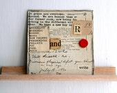 4x4 Original Collage, Red, White, Vintage Ephemera, Read & Write