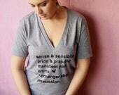 Jane Austen Novels- Book Titles. Unisex Deep V-neck T-shirt in Grey. MADE TO ORDER