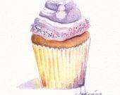 original ACEO Purple Cupcake painting