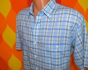 vintage 70s shirt plaid short sleeve button down preppy pastel white blue Large steeplechase 80s