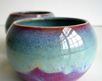 One Purple Blue Porcelain Cup / Bowl - MADE TO ORDER