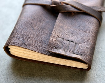 Dark Brown Leather Journal or Sketchbook - Personalized with initials optional