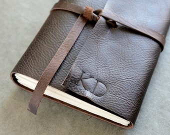 Personalized Leather Journal or sketchbook - Dark Brown 5x7 - Initials