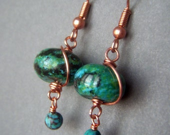 Azurite Gemstone Earrings Copper Earwires, Wirewrapped Chubby Blue Green Rondelle, Turquoise Blue Gemstone Earrings