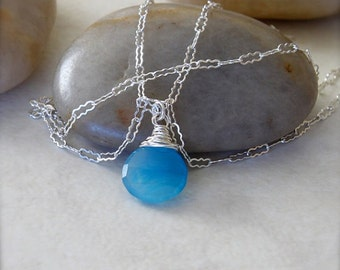 Sterling Silver Necklace with Wire Wrapped Blue Chalcedony Gemstone Pendant - Ocean // L109