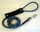 rope dog leash, 5 feet long, 4 colors of climbing rope to choose from, rivet style handle, ready to ship
