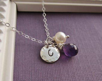Mother's necklace, new mom, personalized birthstone necklace, custom silver initial, freshwater pearl, amethyst birthstone, mothers day gift