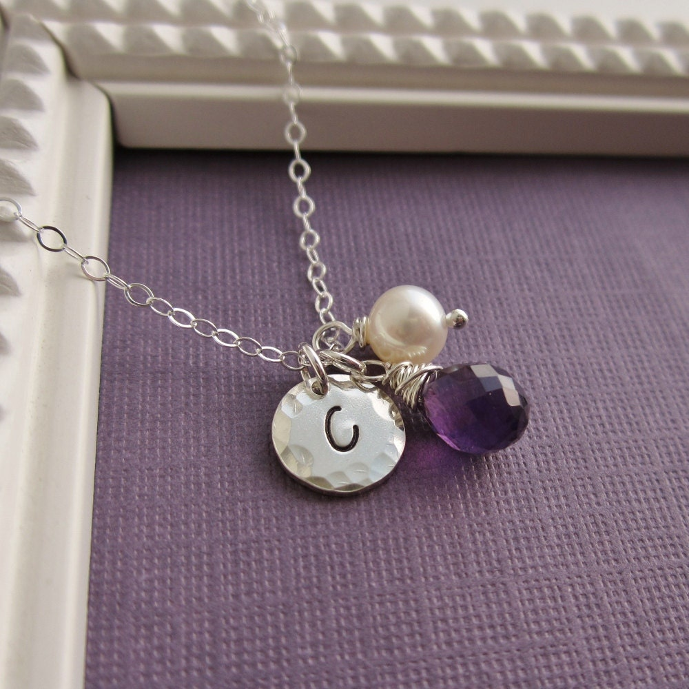 mother 39 s necklace new mom personalized birthstone. Black Bedroom Furniture Sets. Home Design Ideas