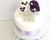 Bird Wedding Cake Topper Purple Passion Royal Purple Opposites Love Birds