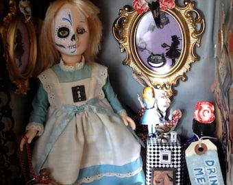Alice in Wonderland Day of the Dead vintage train case altar