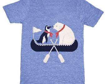 SALE Canoe Friends Vneck - V-Neck T-Shirt Tee Shirt Penguin Polar Bear Arctic Winter Oar Boat Paddle Row Nature Animals Athletic Blue V-neck